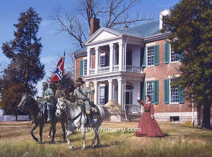 """GEN. FORREST AT CARNTON Gen. Forrest, Major J.P. Strange and Mrs. Caroline McGavock Nov. 30, 1864 - Franklin, TN Image Size 19 1/2"""" x 26 1/2"""" S/N LE Lithographic Prints - $200"""