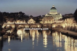 """THE GLORY OF SAN PIETRO St. Peter's Basilica, Vatican City, viewed across the Tiber River Giclee on Canvas 30 X 45"""" $1600 Print on Canvas 24 X 36"""" $450 Print on Paper 30 X 20"""" $195"""