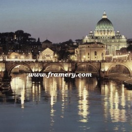 "THE GLORY OF SAN PIETRO St. Peter's Basilica, Vatican City, viewed across the Tiber River Giclee on Canvas 30 X 45"" $1600 Print on Canvas 24 X 36"" $450 Print on Paper 30 X 20"" $195"
