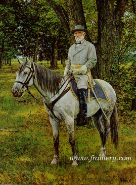 "THE GRAY FOX by Bradley Schmehl General Robert E. Lee on Traveler Image size 29"" X 20"" In stock and available Current price -$150"