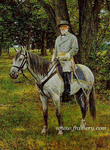 """THE GRAY FOX by Bradley Schmehl General Robert E. Lee on Traveler Image size 29"""" X 20"""" In stock and available Current price -$150"""