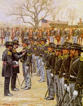 """HEROES OF RED RIVER Col. Ranald Mackenzie present Medals of Honor to eight members of the 4th Cavalry for their bravery in the battle of Red River. Fort Griffin Tex., November 21, 1872 Image size 23 X 18"""" In stock and available Current price - $150"""