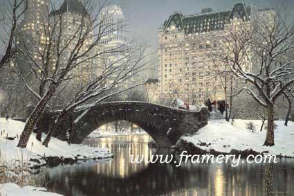 """HOLIDAY IN THE PARK Twilight in Central Park"""" with a holiday touch.  Sales benefit American Cancer Society of No. Ga. S/N Giclee on Canvas 24 X 36"""" In stock and available  Current price - $225"""