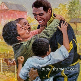 """HOME AT LAST by Don Stivers 2001 Buffalo Soldier Print Image size 16 x 14"""" In stock and available Current price -Call"""