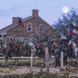 "HEADQUARTERS GETTYSBURG Generals Lee & Longstreet, Major Marshall, Lt Col Taylor Gettysburg, Pa., July 1 1863 Image Size 19 1/2"" x 27"" In stock and available Current price - Call"