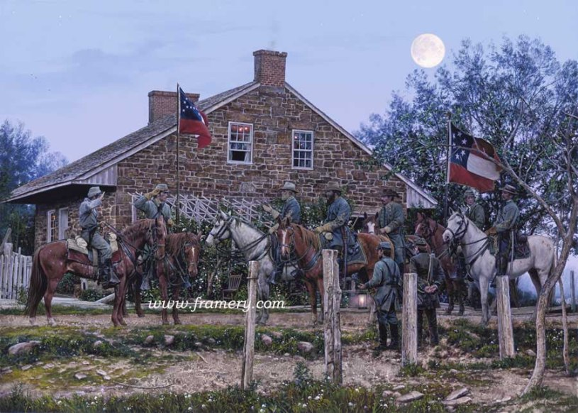 """HEADQUARTERS GETTYSBURG Generals Lee & Longstreet, Major Marshall, Lt Col Taylor Gettysburg, Pa., July 1 1863 Image Size 19 1/2"""" x 27"""" In stock and available Current price - Call"""