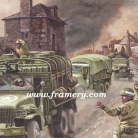 "KEEP 'EM ROLLING! During WW II supply units battle to bring necessary supplies to combat troops. Image size 16.5 X 25"" Current price - Call"