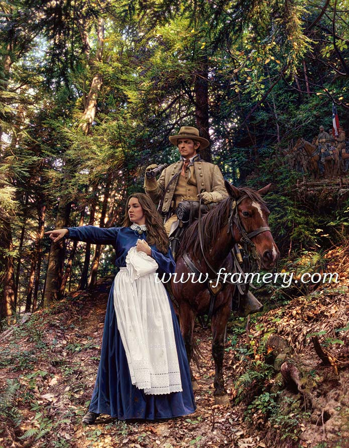 """""""LA BELLE REBELLE"""" Image size 19.5 X 28.5"""" Confederate spy Belle Boyd shares information with 1LT Henry Kyd Douglas, CSA Front Royal, Va., May 23, 1862 In stock and available Current price - $200"""