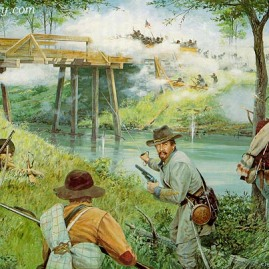 LIGHTNING AT THE BRIDGE by Dale Gallon Members of John T. Wilder's Brigade defend Alexander's Bridge at Chickamauga, Ga., Sept. 18, 1863. In stock and available Current price - $200