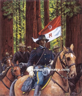 """LT CHARLES YOUNG by Don Stivers Image size 18.5 X 22.5"""" Among many firsts in his career, Young was the first African-American Acting Superintendent of Sequoia National Park. Current price - Call"""