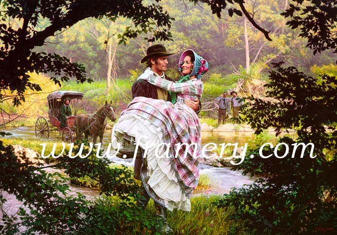 """MARY ANN Nathan Bedford Forest meets Mary Ann Montgomery, his future wife, Hernando, Miss., August 1845 Image size 19"""" X 28"""" In stock and available Current price - $200"""