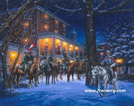 """MOSBY'S RANGERS IN WARRENTON by John Paul Strain In Stock and Available Mosby and his men stop for dinner at Warren Green Hotel, Jan. 18, 1863. 200 S/N Paper Giclées - $225 Image Size: 19 1/4 X 24 1/4"""" S/N Studio Canvas Giclées - $275 Artist's Proof Studio Canvas Giclées - $325 Image Size: 18 X 22 3/4"""" S/N Classic Canvas Giclées - $525 Artist's Proof Classic Canvas Giclées - $675 Image Size 25"""" x 31 1/2"""""""