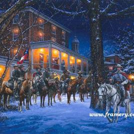 "MOSBY'S RANGERS IN WARRENTON by John Paul Strain In Stock and Available Mosby and his men stop for dinner at Warren Green Hotel, Jan. 18, 1863. 200 S/N Paper Giclées - $225 Image Size: 19 1/4 X 24 1/4"" S/N Studio Canvas Giclées - $275 Artist's Proof Studio Canvas Giclées - $325 Image Size: 18 X 22 3/4"" S/N Classic Canvas Giclées - $525 Artist's Proof Classic Canvas Giclées - $675 Image Size 25"" x 31 1/2"""