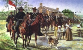 "MOVING OUT After the Civil War, members of the 7th Cavalry patrolled the western U.S. frontier. Image size: 16"" X 25.5 In stock and available Current price - $175"