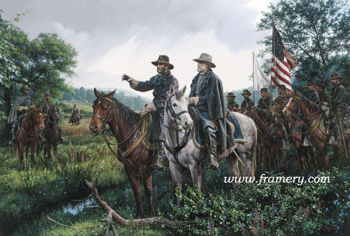 """NEW DAY AT APPOMATTOX First meeting of Lee and Grant to discuss the end of fighting and establishing peace. S/N Studio Canvas Giclées - 16.5 X 24.5"""" In stock and available Current price - $275"""