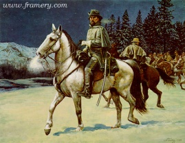 """NO SURRENDER Nathan Bedford Forrest escapes from Ft. Donelson, Tenn., Feb. 16, 1862. Image size 18 X 25"""" In stock and available Current price - $125"""