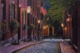"""OLD GLORY by Rod Chase Acorn Street, in historical Beacon Hill section of Boston Giclee on Canvas 30 X 45"""" $1500 Print on Canvas 24 X 36"""" $450 Print on Paper 20 X 30"""" $195"""
