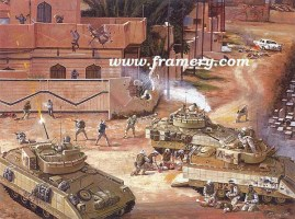 """OLD HICKORY AT BAQUBAH Third platoon of Alpha Co., 120th Infantry faces a large enemy force, June 2004 Image size 18 X 24"""" Issue price: ( call for current price )"""
