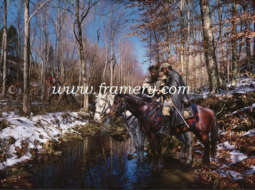 """THE OLD RAILROAD WRECKER Gen. Jackson and LTC Ashby pause at Opequon Creek to plan their next move. Image size 20"""" X 27"""" In stock and available Current price - $200"""