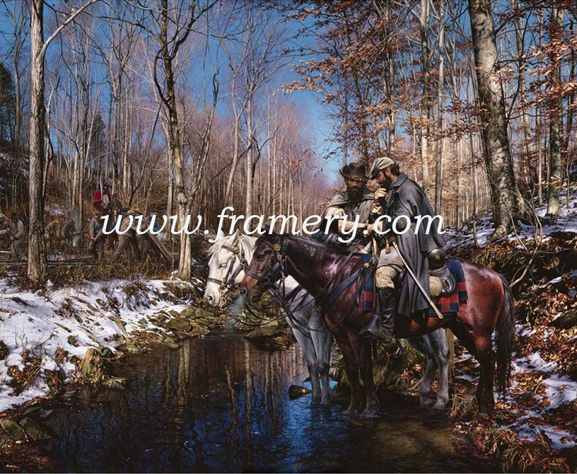 "THE OLD RAILROAD WRECKER Gen. Jackson and LTC Ashby pause at Opequon Creek to plan their next move. Image size 20"" X 27"" Call for price and availability."