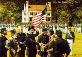 "ONE FLAG, ONE COUNTRY, ONE DESTINY Confederate graduates return to West Point, June 17, 1875. Image size 17 X 24"" In stock and available Current price - $175"