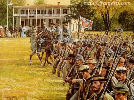 "PASSING THROUGH The capture of Carlisle, Pa., by Confederate troops under the command of Maj.Gen. Richard Ewell, June 28, 1863. Image size 18 X 25"" In stock and available Current price - $175"