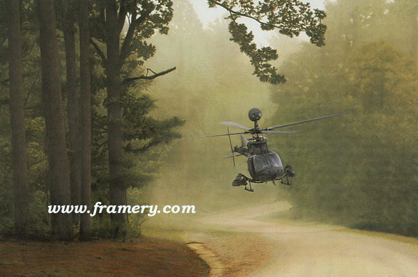 """PATHFINDER by Dru Blair OH-58D Kiowa Warrior Signed only 22 X 30"""" In stock and available - $65"""