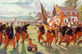 COLLAPSE OF THE PEACH ORCHARD LINE Members of the colorful Pennsylvania 114th Zouaves at Gettysburg, July 2, 1863 - 2:30 p.m. In stock and available Current price - $195