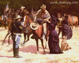 "THE PREMONITION Elizabeth Custer says goodbye to her husband. Image size 18.5 X 23"" In stock and available Current price - $175"