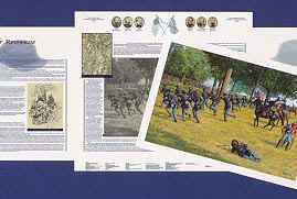The jacket for each print contains sketches, maps, eyewitness accounts, battle narratives and other information and details about the event depicted.