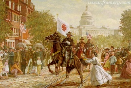 """THE PROFFERED WREATH Gen. Chamberlain's battle-weary horse shies away from the offering of a victory wreath. May 23, 1865. Image size 18 X 24"""" In stock and available Current price - $325"""
