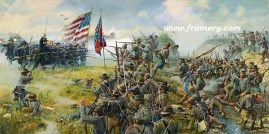 THE RAILROAD CUT by Dale Gallon The 6th Wisconsin and 2nd Mississippi at Gettysburg, July 1863 In stock and available Current price $200