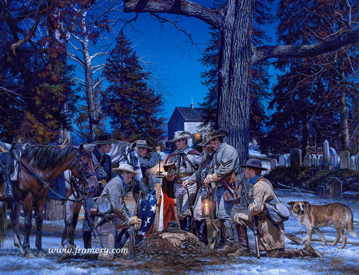 """RANGER FAREWELL John S. Mosby - The Old Chapel Cemetery Shenandoah Valley - Winter of 1864 Mosby's Rangers say farewell to a fallen brother under cover of darkness. S/N Lim Ed Print, Image Size 19.5 x 24.25"""" Issue price $200"""