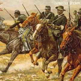 """THE REDOUBTABLE SERGEANT by Don Stivers Sergeant Emanuel Stance at the Battle of Kickapoo Springs, Texas, May 1870 Image size 15 X 24"""" In stock and available Current price - $295"""