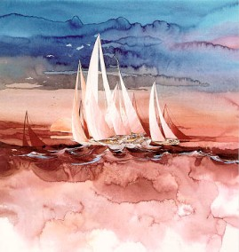 REGATTA AT SUNSET by Michael Atkinson In stock and available - Current price $225