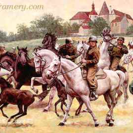 "RESCUING THE LIPIZZANERS The 2nd U. S. Cavalry Group drives the famous horses away from approaching Russian troops and possible slaughter. Image size 16 X 25"" Current price - Call"