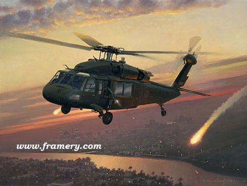 """RETURNING FIRE by William S. Phillips Image size: 12 X 16"""" UH-60 Black Hawk releases flares and machine gun fire in the skies over Iraq In stock and available Current price - $145"""
