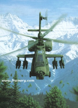 """RISING FORCE by Dru Blair AH-64 with Hellfire missiles Signed only 22 X 30"""" In stock and available - $65"""