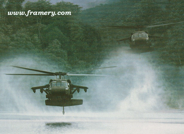 "RIVER HAWKS by Dru Blair UH-60 Blackhawks Signed only 24 X 30"" In stock and available - $65"