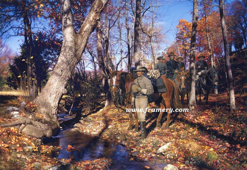 """ROSE HILL RAID Major John Singleton Mosby, Fairfax Co., Va., Sept 28, 1863 S/N Image size: 19.5"""" X 28"""" In stock and available Current price - $200"""