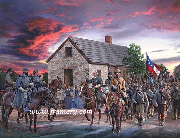 """SCARLET SKY Gen Jackson watches his troops march through Winchester, Va., on their successful Valley Campaign, May 25 1862 S/N Paper Giclee, Image size: 19"""" x 25"""" In stock and available Current price - $225"""