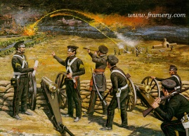 "SERVICE ON THE LINE Ordnance rocket and Howitzer battery at Vera Cruz, Mexico, March 25, 1847 Image size 17 X 23"" In stock and available Current price $150"