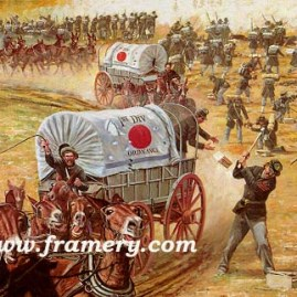 "SERVICE ON TIME Ordnance Mule Train Charge, Gettysburg, July 1 1863 Image size 18 X 22"" In stock and available Current price - Call"
