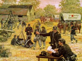 "SERVICE TO THE LINE The Union Army's First Corps ordnance men repair weapons near the battle lines at Gettysburg, July 1, 1863. Image size 17.5 X 23"" In stock and available Current Price: $150"