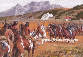 "SHOWING THE FLAG The first contact between Native Americans and the U S Cavalry, June 1834 Image size 15 X 22"" In stock and available AP only - $200"