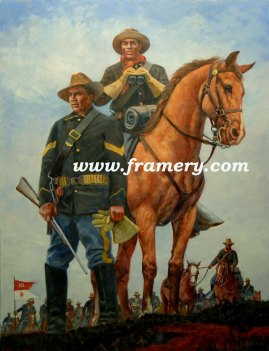 """SIGNAL SMOKE by Don Stivers Buffalo Soldiers played a major role in the settling of the American West. Commemorating the140th Anniversary of 10th Cav. Image size 18 X 23"""" Current price - $195"""