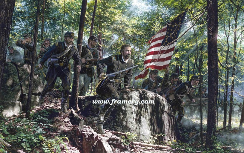 SOUL OF A LION Col Joshua Chamberlain at Little Round Top, Gettysburg, Pa. July 2, 1863 Image Size: 18 X 28 Current price: Call