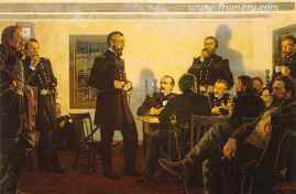 """STAY AND FIGHT IT OUT Gen. Meade and his commanders discuss the first two days of battle at Gettysburg, July 2, 1863. Image size 17.5 X 26"""" In stock and available Current price - $175"""