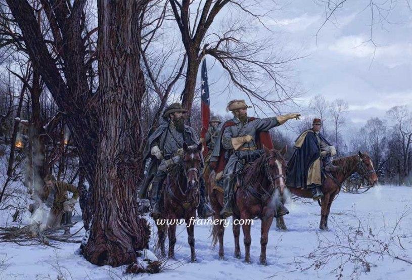 "STUART'S CHRISTMAS RAID Generals Stuart, Fitzhugh Lee, and Major John Pelham at Fairfax Courthouse, Va. Dec. 1862 Image size 19.5 X 19.75"" In stock and available Current price - $200"