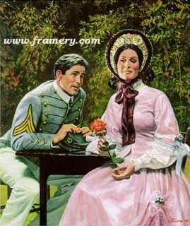 "THE SUITOR A West Point cadet courts a young lady. Image size 18 X 15"" In stock and available Current price - $150"